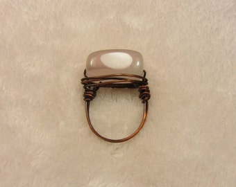 Pink Agate stone Ring Copper Wire Wrapped