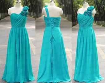 Green Long Bridesmaid Dress One Shoulder Handmade Light Green Chiffon Prom Dress Lace Up Back Wedding Party Dress