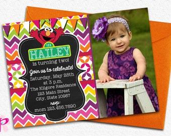 Girly Elmo Chalkboard Invitation