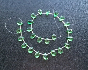 Full Strand Fine Quality Green Fluorite Faceted Flat Pear Briolette Beads