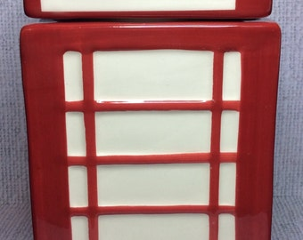 RED Telephone Cookie Jar Ceramic