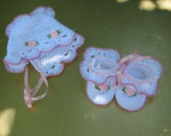 Crochet Baby Set: Bonnet and booties, Christening Bonnet and booties, Newborn Baby Hat