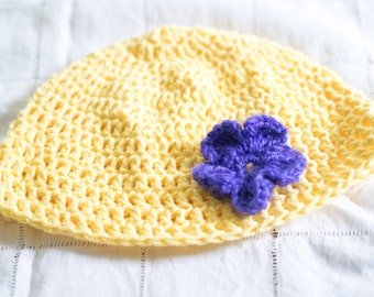 Yellow and Purple Crochet Hat