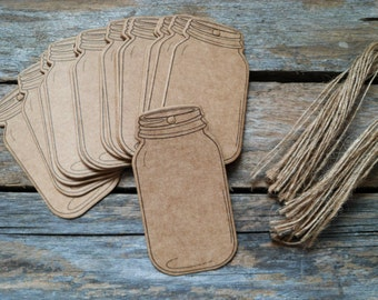 25pcs Vintage Style Kraft Jar Shape Label Hangtag Tag Paper Tag with cords for canning
