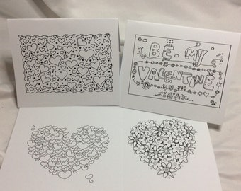 Color your Own Greeting Cards (valentine and love)