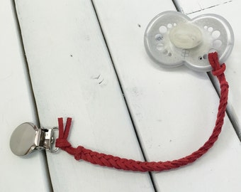 Red Apple Leather Braided Binky Clip -(modern pacifier clip, boy, girl, gender neutral, faux suede, simple, natural) valentines day