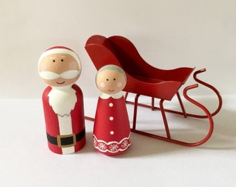 Santa & Mrs. Clause - peg dolls - Christmas decoration - peg people - holiday decor - stocking stuffer - dollhouse toy - wooden dollhouse