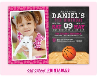 Basketball Birthday Invitation. Basketball Party Photo Invite. Basketball Invitation. Girls Birthday. Any Age. DIY Printable Digital