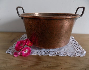 French antique, very large hand hammered copper cooking pot, rustic home decor.
