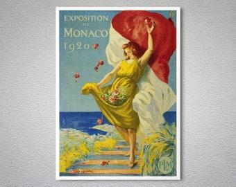 Exposition de Monaco, 1920 Vintage Travel Poster, Canvas Giclee Print