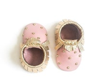 ON SALE: Back to school Baby Moccasins, Toddler Moccasins - Pink & Gold Studded Baby Moccasins, Toddler Moccs, Leather Moccasins, Crib Shoes