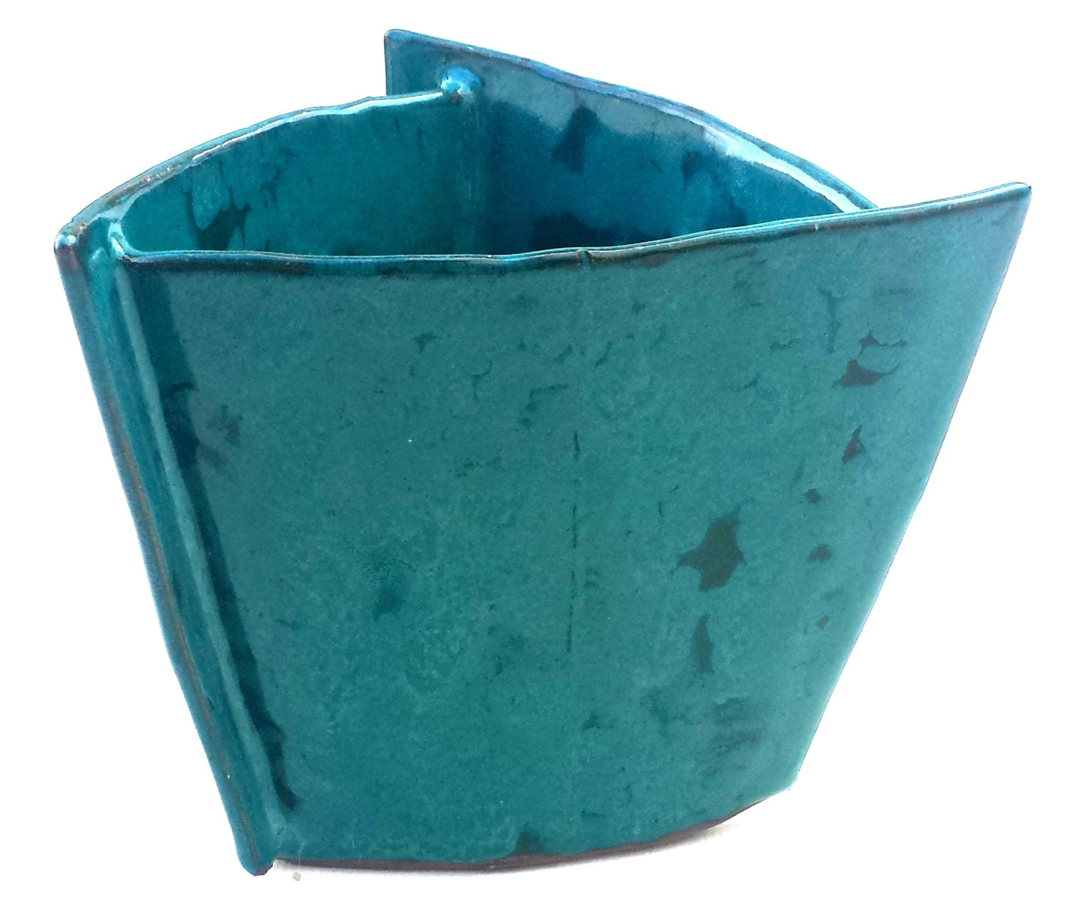 Turquoise Triangular Planter Small Triangle Pot Colorful