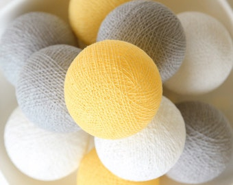35 Pastel Yellow Grey White Cotton Ball Lights for Bedroom, Kid's room, Baby room, Wedding, Patio, Party, Fairy, Outdoor, Decor
