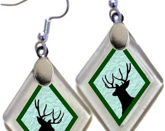"Earrings ""Deer (assorted colors)"" rescued, repurposed window glass~Lightening landfills one tiny glass diamond at a time!"