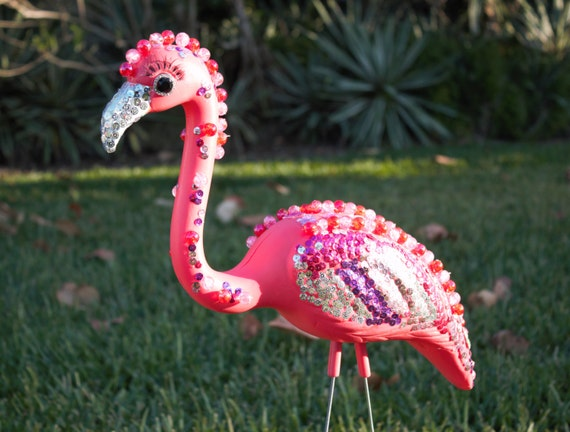 Bedazzled Flamingo Lawn Ornament Pink Plastic Flamingo With