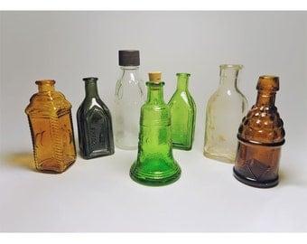 Miniature Mini Glass Bottles  Wheaton Liberty Bell, Berrings Apple, Chief Wahoo and More (7)