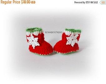 SWEET BABY Christmas Baby Booties, Santa Baby Booties, Crochet Baby boots, Red Booties, Crochet Baby Shoes, Santa Newborn Booties, Christmas