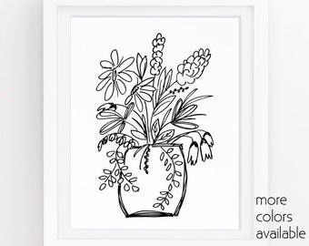 Black and white flowers, Flowers in vase, Black floral, Flower drawing, Floral wall art, Feminine art, Printable art, 5x7, 8x10, 11x14, 245