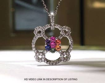 1.50 Carats Genuine Rainbow Sapphire Pendant set in 925 Sterling Silver