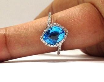 3.50 Carat Natural Blue Topaz & Diamond Ring in 14K Gold
