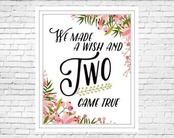 Printable Nursery Art- Made a Wish- TWINS
