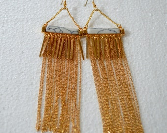 Golden White Dangle Earrings