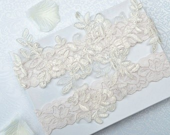 Wedding Garter Set- Bridal Garter Set - Keepsake Garter- Ivory Lace Garter- Garter- Wedding Garter- Bridal Garter Set- Wedding Garter Belt