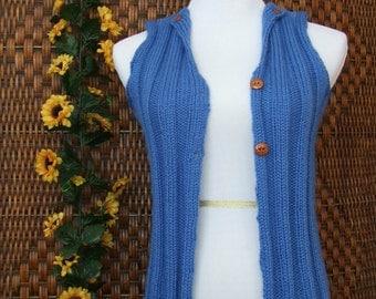 Cornflower blue knit wool vest, women's XS knitwear, sweater vest size 2-4 women