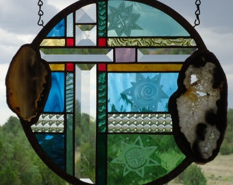 "stained glass window panel""GOOD DAY SUNSHINE""Brazilial agates, sandblasting,stained glass suncatcher, sun catcher, art glass, beveled glass"