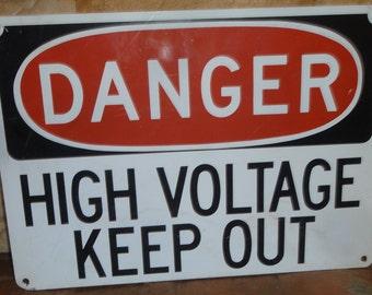 High Voltage Metal Sign