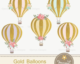 Gold Hot Air Balloons Clipart for Wedding,  Pre-Nup, Birthday, Invitations, digital Scrapbooking, and more