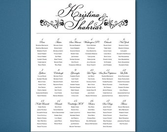 PRINTABLE Wedding Seating Chart • Black and White Reception • Alphabetical Seating Chart • Easy to Read Seating • Opera House