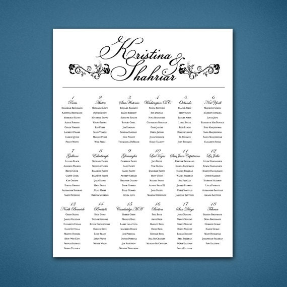 Printable Seating Chart For Wedding Reception: PRINTABLE Wedding Seating Chart Black And White Reception