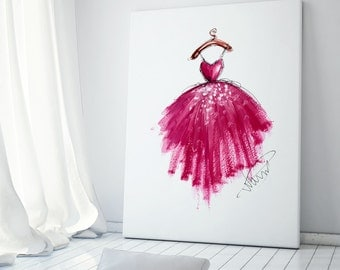 Art poster, Pink dress art, Fashion illustration, Fashion art, Fashion wall art, Fashion sketch, Nursery art, Pink nursery art, Pink decor