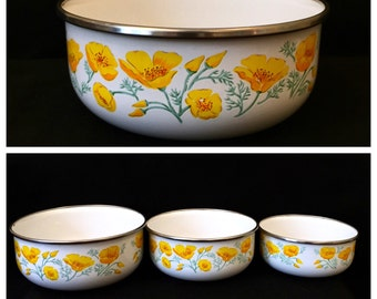 Kobe Kitchen Enamel Nesting Bowls JAPAN