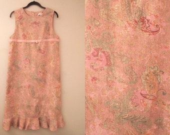Pink Dress Vintage Womens Paisley