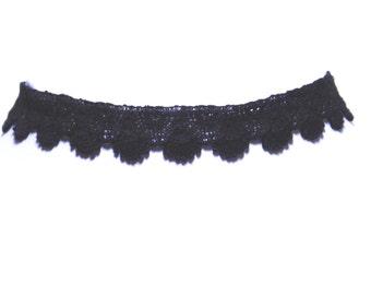 Black Lace Victorian Gothic Burlesque Art Deco Choker Necklace