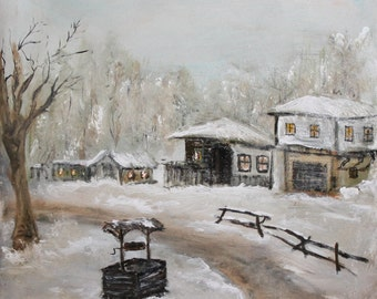 Winter landscape oil realist painting signed
