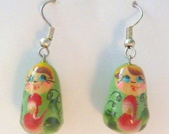 Vintage Quirky Hand Painted Enamel Kitsch Girl Earrings.