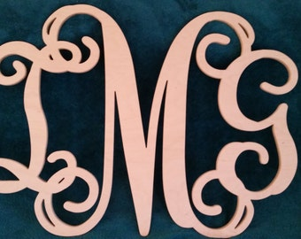 Custom Wood Carved Monogram Initials 24x32