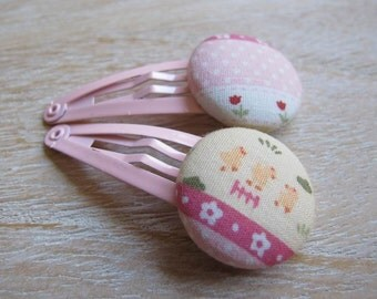 Fabric Covered Button Snap Clip - Chicken (Set of 2)