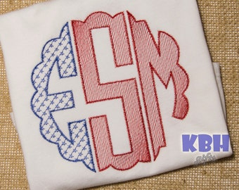 Embroidered Memorial Day Monogrammed Shirt / 4th of July Monogrammed Shirt / Patriotic Monogrammed Shirt