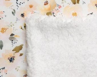 Blush floral minky blanket
