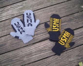 Handknit USMA mittens, College Spirit Mittens, West Point Mittens