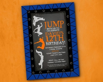 Jump Trampoline Birthday Party Invitation