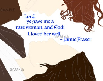 Jamie and Claire Rare Woman Quote Print Blue