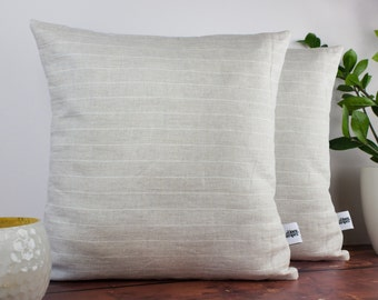 Beige and white stripe linen cushion cover set of 2 - Decorative Cushion Case - Linen Pillow Cover - Beige Cushion Cover - Stripe Cushion
