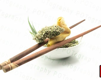 Chronic Foods (5 options) - Cannabis Poster - Bowl of Bud - Pot Leaf - 420 Print - Marijuana Edibles - Weed Pipe - Bong Sticker - chopsticks