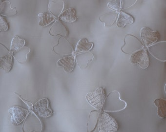 "Off white organza with 3D butterfly desgin 55"" fabric 5yards"