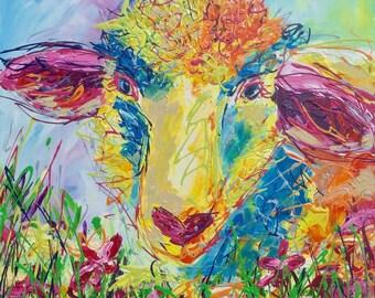 "Canvas Print of ""Baa', colourful sheep print, ready to hang, free shipping in UK"
